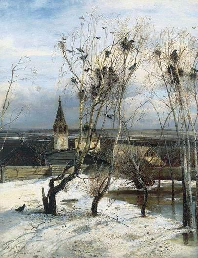 Грачи прилетели, старинная картина А. Саврасова