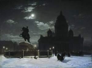 Вид памятника Петру I на Сенатской площади в Петербурге (1870)