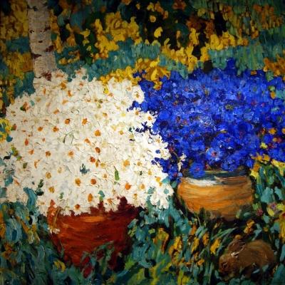 """НЕТ В НАЛИЧИИ - лот №A000272 """"Синие и белые цветы"""""""