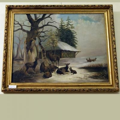 лот №A000158 Пейзаж с оленями