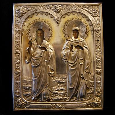 НЕТ В НАЛИЧИИ - лот №I000195 Икона Симеона Богоприимца и Анны Пророчицы