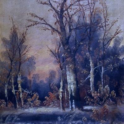 НЕТ В НАЛИЧИИ - лот №A000230 Парные картины «Вечерний пейзаж»