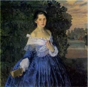 Дама в голубом, старинная картина К. Сомова