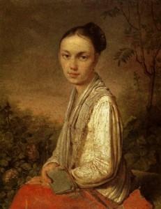 Портрет В.С. Путятиной. Старинная антикварная картина, русская живопись 19 века, Венецианов