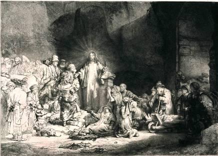 """Старинная гравюра Рубенса """"Христос, исцеляющий больных"""""""